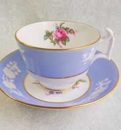 SPODE Tea Cup and Saucer,   Maritime Rose Blue teacup with white floral embossing, and pink rose center / Tea Party / Vintage Wedding by HoneyandBumble on Etsy