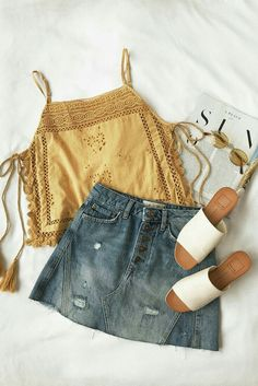 """summer outfit mustard tank denim skirt slip on sandals bohemian relax. - outfits , summer outfit mustard tank denim skirt slip on sandals bohemian relaxed classy easy girly Source by """" , """" Classy Outfits, Casual Outfits, Classy Clothes, Look Fashion, Womens Fashion, Fashion Trends, Fashion 2018, Feminine Mode, Feminine Fashion"""