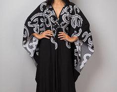 Vestido Kaftan, vestido Maxi, vestido boho largo, vestido negro, vestido de verano, vestido de blanco y negro, kaftan: Funky elegante colección No.1p