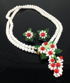 LOVE ISLANDCarmen Miranda Leaf Crystal Flower Colored Stones  Statement Earrings