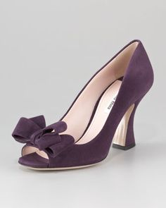 Bow Peep-Toe Suede Pump by Miu Miu at Neiman Marcus.