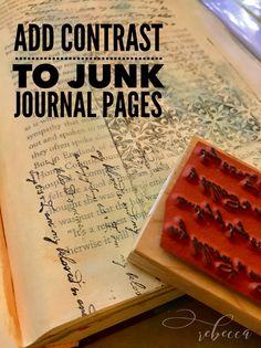 Add Contrast to Junk Journal Pages – Stenciling & Stamping - Rebecca E. Art Journal Pages, Junk Journal, Art Journals, Book Crafts, Paper Crafts, Diy Crafts, Journal Inspiration, Journal Ideas, Glue Book