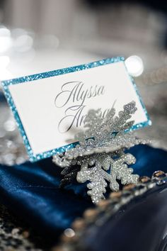 Winter wedding snowflake place card holders