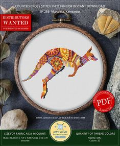Mandala Kangaroo Cross Stitch Pattern for Instant Download *P286 | Lovely Cross Stitch| Room Decor| Needlecraft Pattern| Easy Cross Stitch