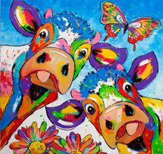 New Arrival Hot Sale Cow Diy Embroidery Cross Stitch Diamond Painting Kits UK Happy Paintings, Cross Paintings, Animal Paintings, Arte Pop, Cow Painting, Painting & Drawing, Pintura Graffiti, Cartoon Cow, Photo D Art