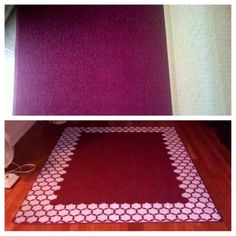 old rug + paint + cutting Edge Stencil = new rug!