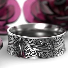 Engraved Norse Wedding Ring With Dramatic Design in Sterling