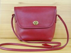 Vtg COACH Quincy Bag in Cherry Red // Coach Crossbody Purse/Satchel // 90s Red Leather Coach Purse // Made in the United States