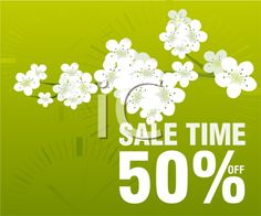 Royalty Free Clipart Image of a Spring Sale Flyer With Blooms