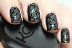 Gray Matt base nails with crisscross black shiny on top. #nails - DIY NAIL ART DESIGNS
