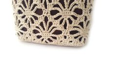 Crochet lace tote in tan colour with genuine leather by zolayka