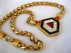 SAL Swarovski vintage gold and crystal statement necklace, glitzy garnet and diamond necklace, chunky vintage costume necklace, classic by thelavenderpear on Etsy