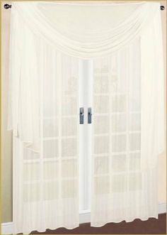 2 Piece Solid Beige Sheer Window Curtains