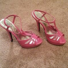 """City Streets pink shoes Sexy 5 1/2 """" heel  with 1"""" platform hot pink stiletto. New never worn. Man made materials. Very pretty! City Streets Shoes"""
