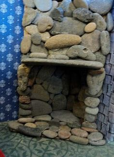 Homemade Obsessions: Stone Fireplace For Dollhouse Castle - hmm wonder if I have enough stones yet to make this or fairy garden Dreamhouse Barbie, Barbie Doll House, Barbie Dream House, Barbie Dolls, Barbie Clothes, Fairy Furniture, Barbie Furniture, Dollhouse Furniture, Diy Dollhouse