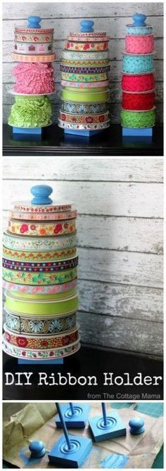 DIY Ribbon Holder Craft Home Tutorial - The Cottage Mama. www.thecottagemama.com