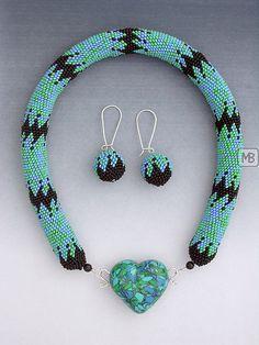 beadcrochet, polymerclay pendant