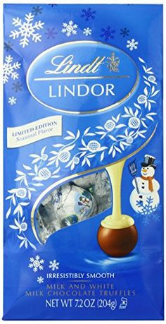 Lindt LINDOR Snowman Milk with White Chocolate Truffle, 7.2 oz. - http://bestchocolateshop.com/lindt-lindor-snowman-milk-with-white-chocolate-truffle-7-2-oz/