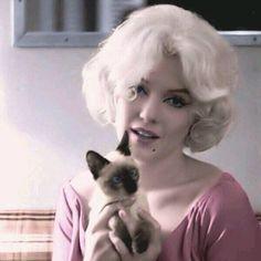 Marilyn Monroe with Little Siamese Kitten