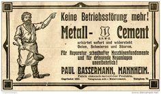 Original-Werbung/ Anzeige 1905 : METALL - CEMENT / PAUL BASSERMANN - MANNHEIM - ca. 140 x 75 mm