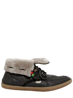DOLFIE - ECO SHEARLING CALFSKIN LACE UP LOAFERS - LUISAVIAROMA - LUXURY SHOPPING WORLDWIDE SHIPPING - FLORENCE