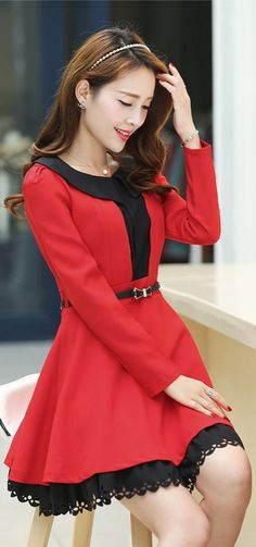Cute Red Dress Layered Skirt Ruffled Chest YRB0624
