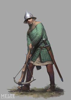 Тевтонский арбалетчик, натягивающий тетиву с помощью крюка или когтя на поясе