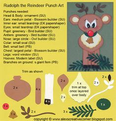 Alex's Creative Corner - Rudolph Christmas card punch art instructions