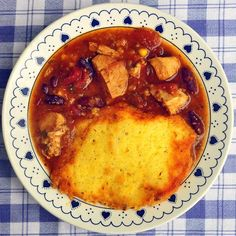 Leftover Turkey Chili Soup with Cornbread Dumplings - yet another new and very delicious recipe for leftover turkey. Try it with leftover roast chicken too or even start from scratch with some diced cooked chicken breast.