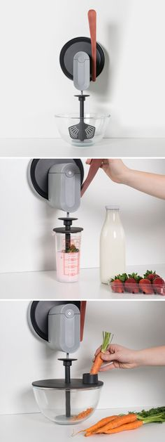 This non-electric food processor is a multifunctional manual mill that is attached to the wall.