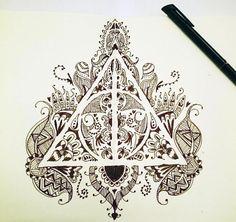 Zentangle Harry Potter Les reliques de la Mort #harrypotter #zentangle