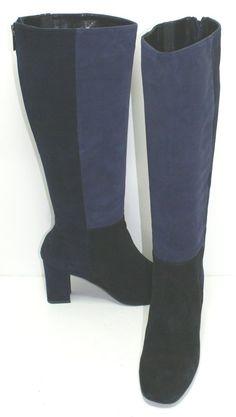 $570 Aquatalia by Marvin K. 'Quiz' Boot Blue and Black Suede Size 8.5 #Aquatalia #FashionKneeHigh
