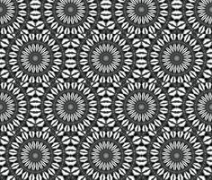 kaleidoscope 2 :: fabric by Heather Croxton :: black and white, pattern, abstract, decor, home