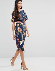Image 4 of ASOS TALL Wiggle Dress in Navy Large Scale Floral Print