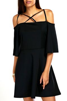 $11.42 Stylish Women's Cross Spaghetti Straps Black Dress