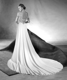 EMERY - Vestido de novia con estilo sirena y escote redondo