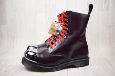Men s BNIB Dr Martens Grasp Merlot Metal Silver Cap Boots Size UK 10 EU 45