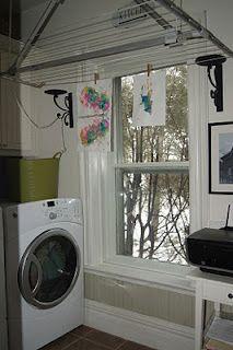 Ceiling mounted art drying rack!