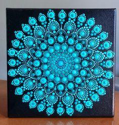 Best 12 Vibrant Dot Mandala on stretched canvas x in shades of Turquoise Mandala Art, Mandala Canvas, Mandala Painting, Mandala Pattern, Mandala Design, Mandala Painted Rocks, Mandala Rocks, Dot Art Painting, Stone Painting