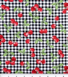 Skirt, crop top, dress, shorts. Anything. Novelty Cotton Fabric-Cherry Gingham Black