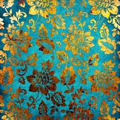 Gold Flower Print - Photo Canvas Print for Office, Living Room, Bedroom, Turquoise, Yellow, Gold, Brown, Auburn, Speckles, Flowers, Falling, Flowing, Fabric, Leaves, Antique, Vintage, Aged, Chinese, Embroidery, Silk, Delicate, Smooth, Illustration Pictures