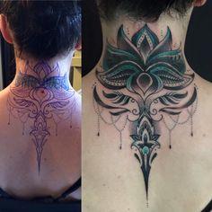 Neck Lotus Flower Dot Work Tattoo #KoiFishLotusFlowerTattoos #BuddhismLotusFlowerTattoos #TribalLotusTattoos #MandalaTattoosWithLotus #LotusDreamCatcherTattoos #LotusTattoowithHummingBird #LotusTattooIdeas #Lotustattoofashion #lotustattoos #lotustattooideasforwomen #tattooinspiration