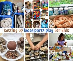 Setting up loose parts play for kids Craft Stick Crafts, Crafts To Make, Crafts For Kids, Game Pieces, Puzzle Pieces, Craft Activities For Kids, Motor Activities, Sensory Activities, Diy Toys And Games