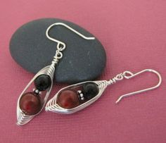 Burgundy & Black Pearl Woven Herringbone Wire Wrapped Earrings by SilverSmack