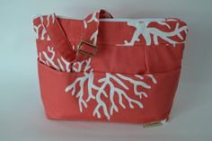 Women's Shoulder bags Made in the USA by Darby Mack Designs Slub cotton upholstery weight / Messenger strap / Ocean CORAL outdoor waterproof...