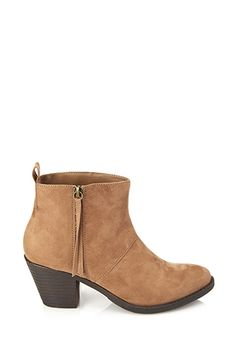 Zippered Faux Suede Booties | Forever21 - 2000067255
