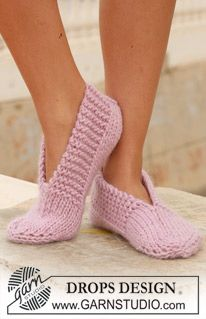"""DROPS knitted slippers in """"Eskimo"""". ~ DROPS Design An old favorite ~ great for when you want something simple and quick to knit."""