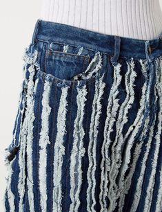Black Denim Frayed Oversized Jeans | Y Project