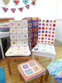 would never cover a chair in white, but have to make a white background afghan some day