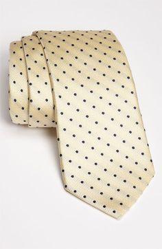 Yellow and Navy polka dot tie